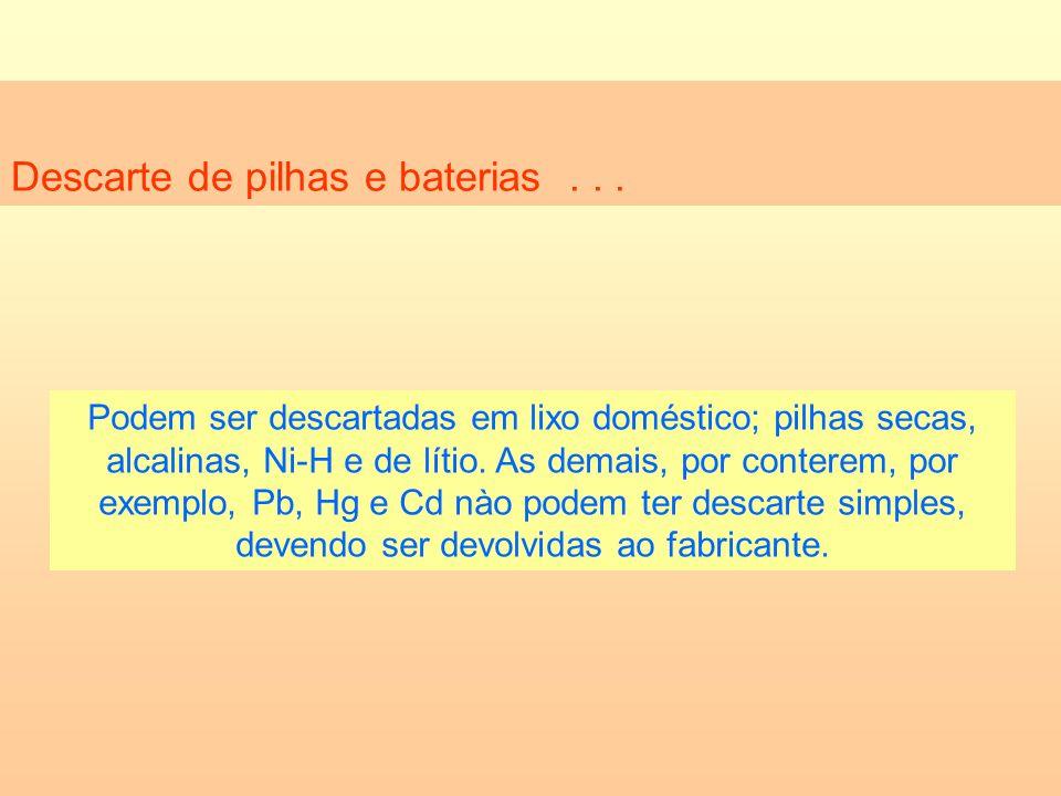Descarte de pilhas e baterias... Podem ser descartadas em lixo doméstico; pilhas secas, alcalinas, Ni-H e de lítio. As demais, por conterem, por exemp