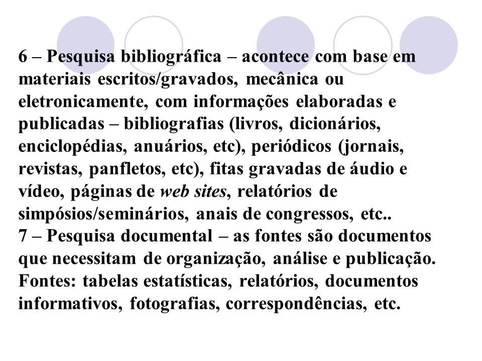 6 – Pesquisa bibliográfica – acontece com base em materiais escritos/gravados, mecânica ou eletronicamente, com informações elaboradas e publicadas –