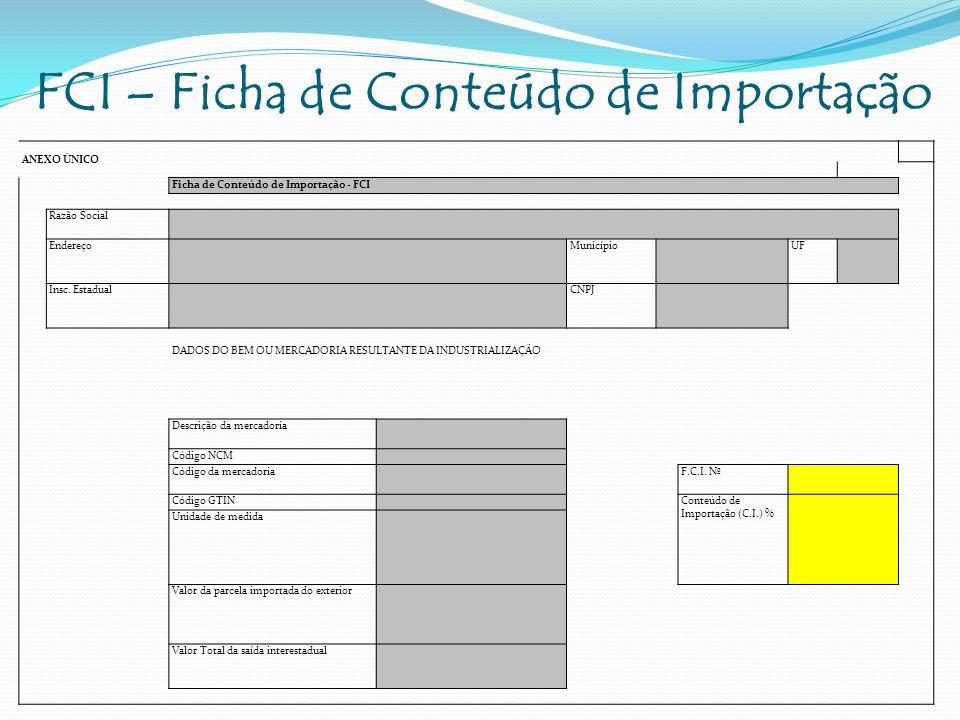 FCI – Ficha de Conteúdo de Importação ANEXO ÚNICO Ficha de Conteúdo de Importação - FCI Razão Social Endereço Município UF Insc. Estadual CNPJ DADOS D