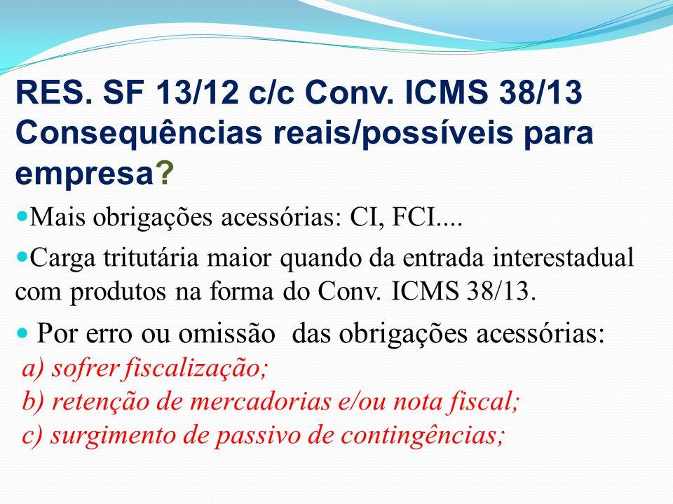 RES. SF 13/12 c/c Conv. ICMS 38/13 Consequências reais/possíveis para empresa? Mais obrigações acessórias: CI, FCI.... Carga tritutária maior quando d