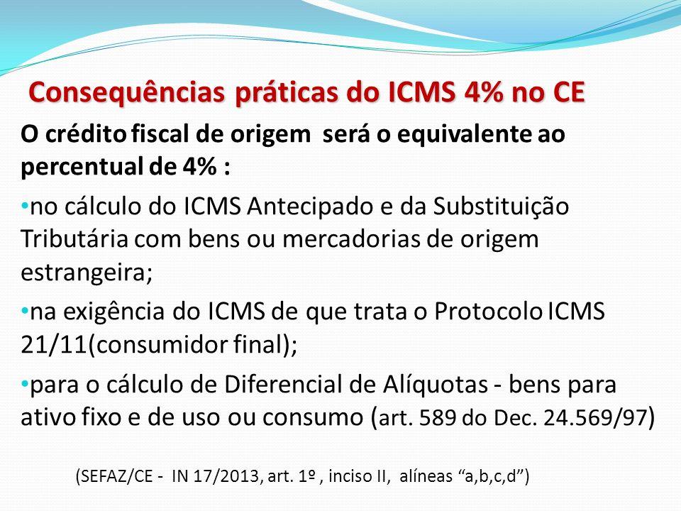 Consequências práticas do ICMS 4% no CE O crédito fiscal de origem será o equivalente ao percentual de 4% : no cálculo do ICMS Antecipado e da Substit