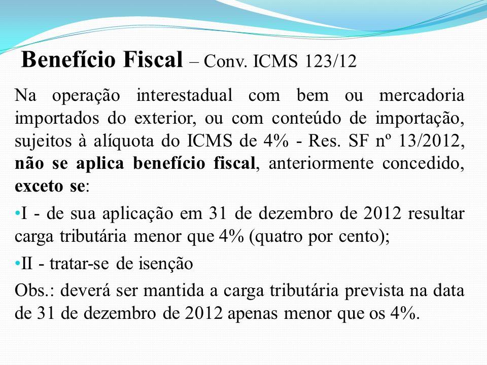 Na operação interestadual com bem ou mercadoria importados do exterior, ou com conteúdo de importação, sujeitos à alíquota do ICMS de 4% - Res. SF nº