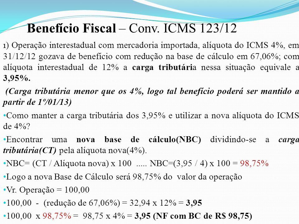 1 ) Operação interestadual com mercadoria importada, alíquota do ICMS 4%, em 31/12/12 gozava de benefício com redução na base de cálculo em 67,06%; co