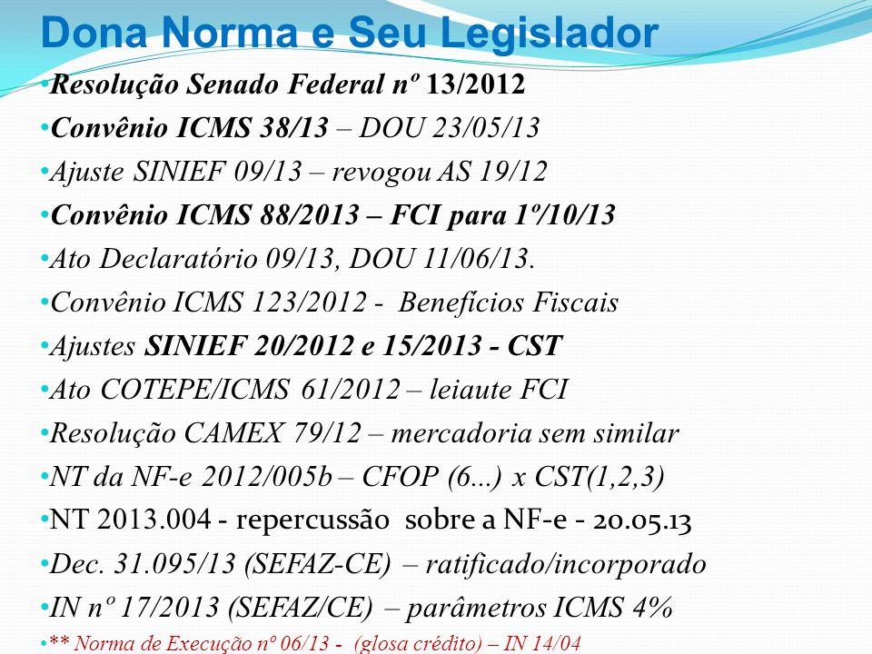 Dona Norma e Seu Legislador Resolução Senado Federal nº 13/2012 Convênio ICMS 38/13 – DOU 23/05/13 Ajuste SINIEF 09/13 – revogou AS 19/12 Convênio ICM