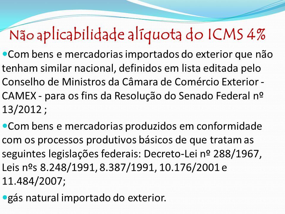 1 ) Operação interestadual com mercadoria importada, alíquota do ICMS 4%, em 31/12/12 gozava de benefício com redução na base de cálculo em 67,06%; com alíquota interestadual de 12% a carga tributária nessa situação equivale a 3,95%.
