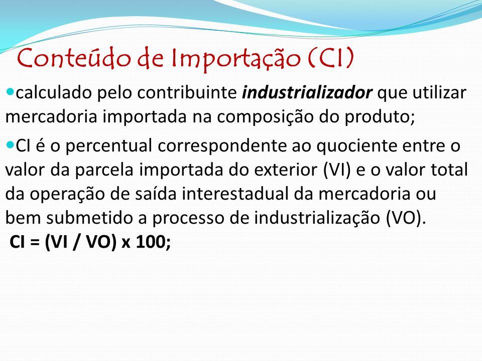 Conteúdo de Importação (CI) calculado pelo contribuinte industrializador que utilizar mercadoria importada na composição do produto; CI é o percentual