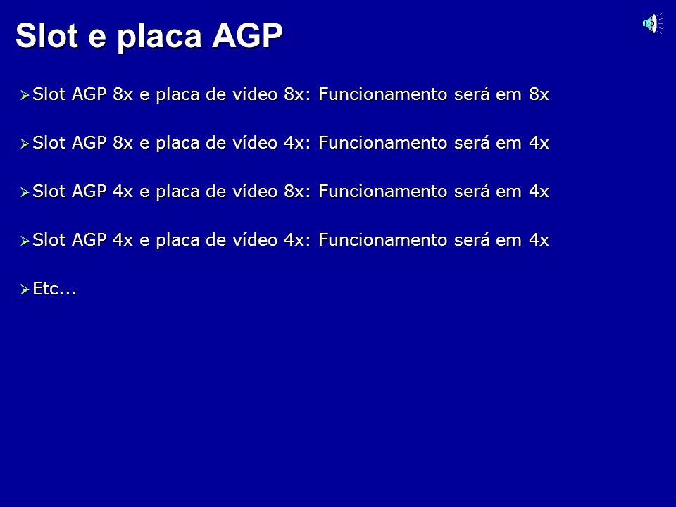 Velocidades dos slots AGP AGP 1x: 266 MB/s (1997) AGP 1x: 266 MB/s (1997) AGP 2x: 533 MB/s (1999) AGP 2x: 533 MB/s (1999) AGP 4x: 1066 MB/s (2000) AGP