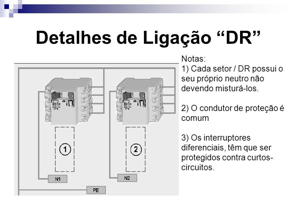 Detalhes de Ligação DR Notas: 1) Cada setor / DR possui o seu próprio neutro não devendo misturá-los.