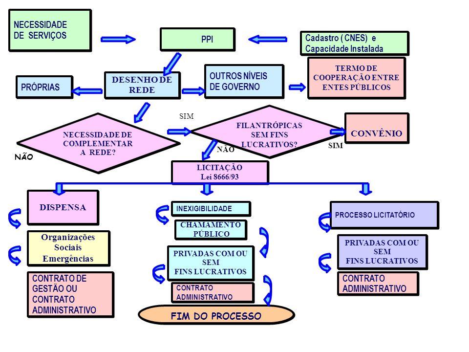 NECESSIDADE DE SERVIÇOS PPI PRÓPRIAS DESENHO DE REDE OUTROS NÍVEIS DE GOVERNO TERMO DE COOPERAÇÃO ENTRE ENTES PÚBLICOS NECESSIDADE DE COMPLEMENTAR A R