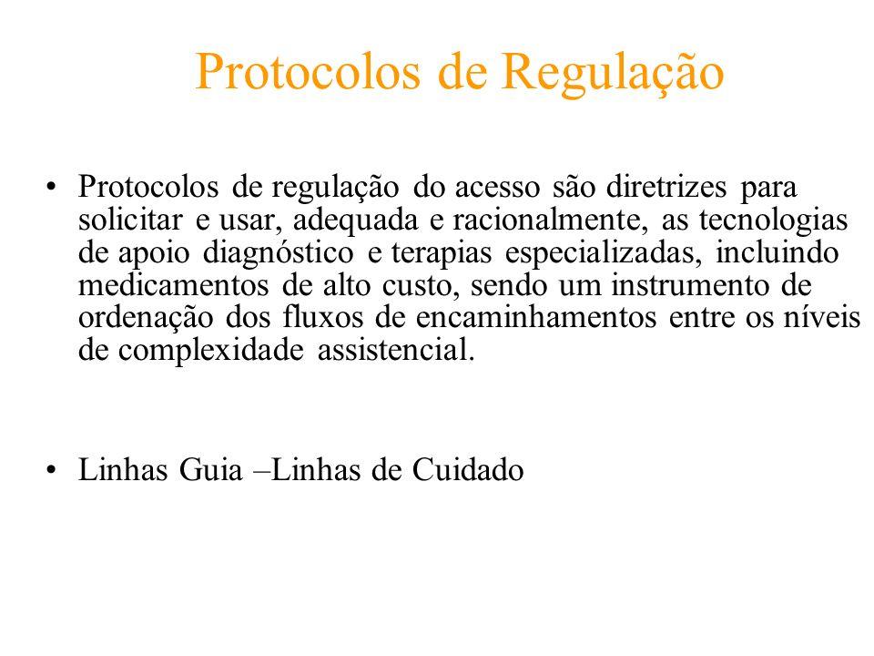Protocolos de Regulação Protocolos de regulação do acesso são diretrizes para solicitar e usar, adequada e racionalmente, as tecnologias de apoio diag