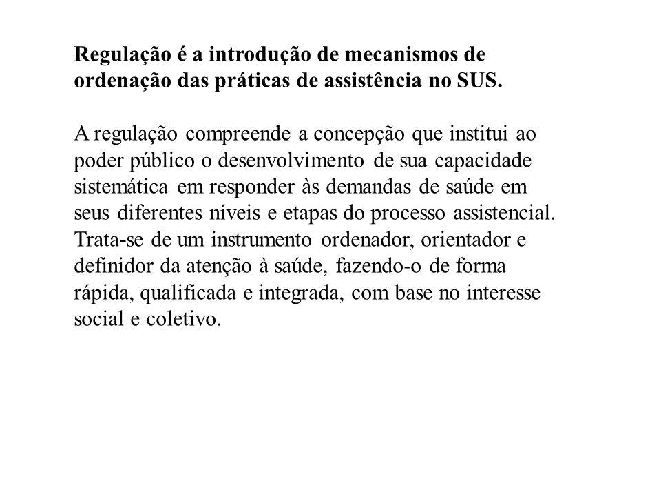 Regulação é a introdução de mecanismos de ordenação das práticas de assistência no SUS. A regulação compreende a concepção que institui ao poder públi