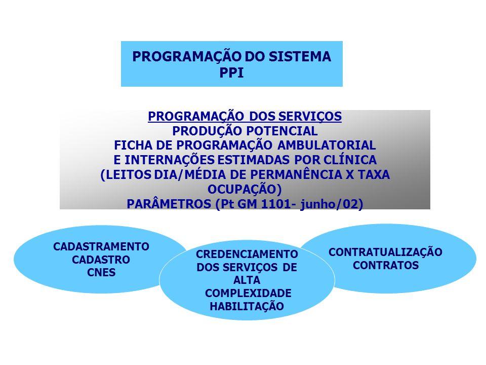 PROGRAMAÇÃO DO SISTEMA PPI PROGRAMAÇÃO DOS SERVIÇOS PRODUÇÃO POTENCIAL FICHA DE PROGRAMAÇÃO AMBULATORIAL E INTERNAÇÕES ESTIMADAS POR CLÍNICA (LEITOS D