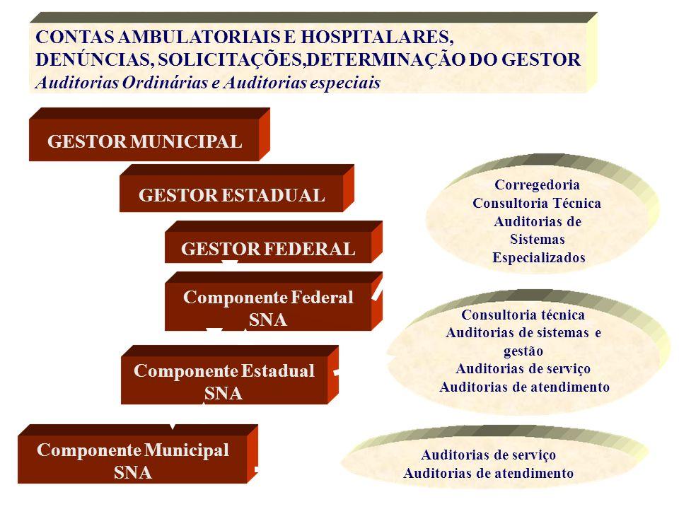 CONTAS AMBULATORIAIS E HOSPITALARES, DENÚNCIAS, SOLICITAÇÕES,DETERMINAÇÃO DO GESTOR Auditorias Ordinárias e Auditorias especiais GESTOR MUNICIPAL GEST