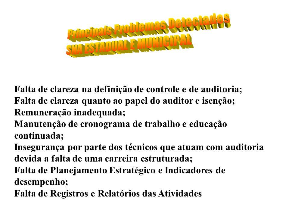 Falta de clareza na definição de controle e de auditoria; Falta de clareza quanto ao papel do auditor e isenção; Remuneração inadequada; Manutenção de