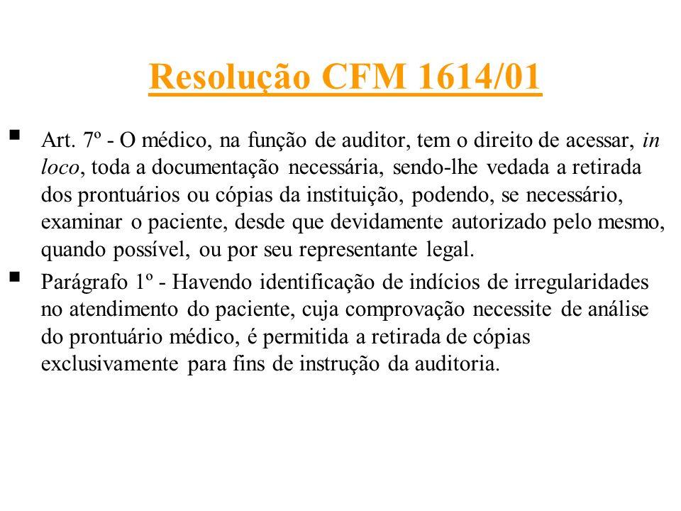 Resolução CFM 1614/01 Art. 7º - O médico, na função de auditor, tem o direito de acessar, in loco, toda a documentação necessária, sendo-lhe vedada a