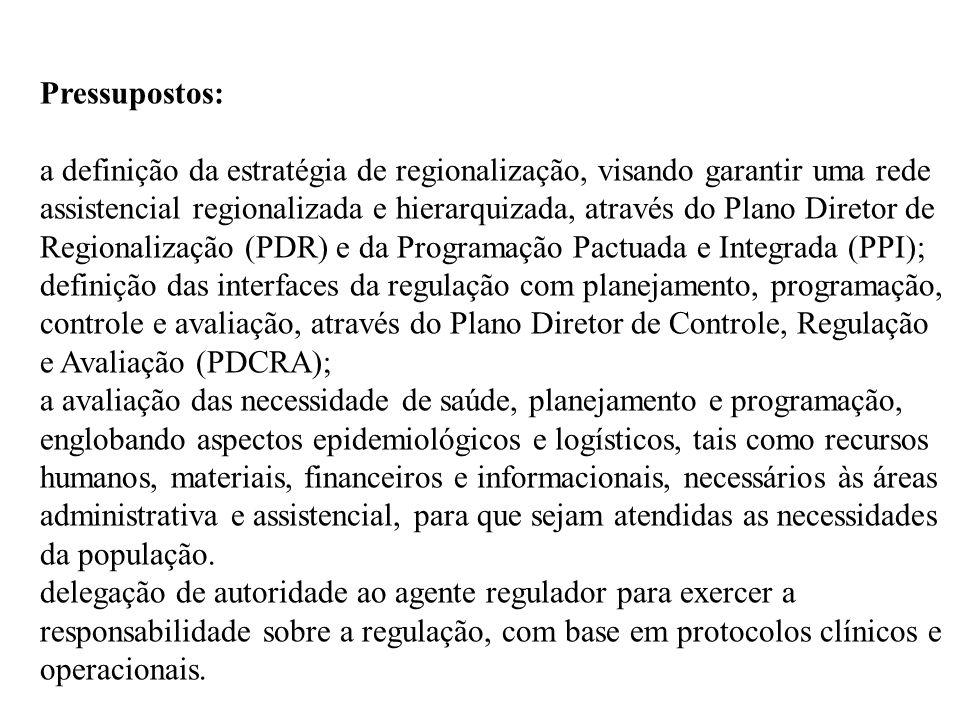 Pressupostos: a definição da estratégia de regionalização, visando garantir uma rede assistencial regionalizada e hierarquizada, através do Plano Dire
