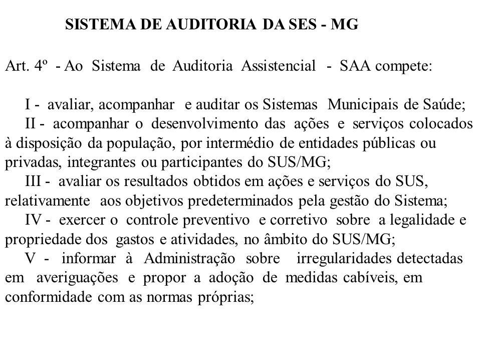 Art. 4º - Ao Sistema de Auditoria Assistencial - SAA compete: I - avaliar, acompanhar e auditar os Sistemas Municipais de Saúde; II - acompanhar o des