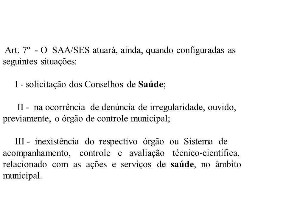 Art. 7º - O SAA/SES atuará, ainda, quando configuradas as seguintes situações: I - solicitação dos Conselhos de Saúde; II - na ocorrência de denúncia