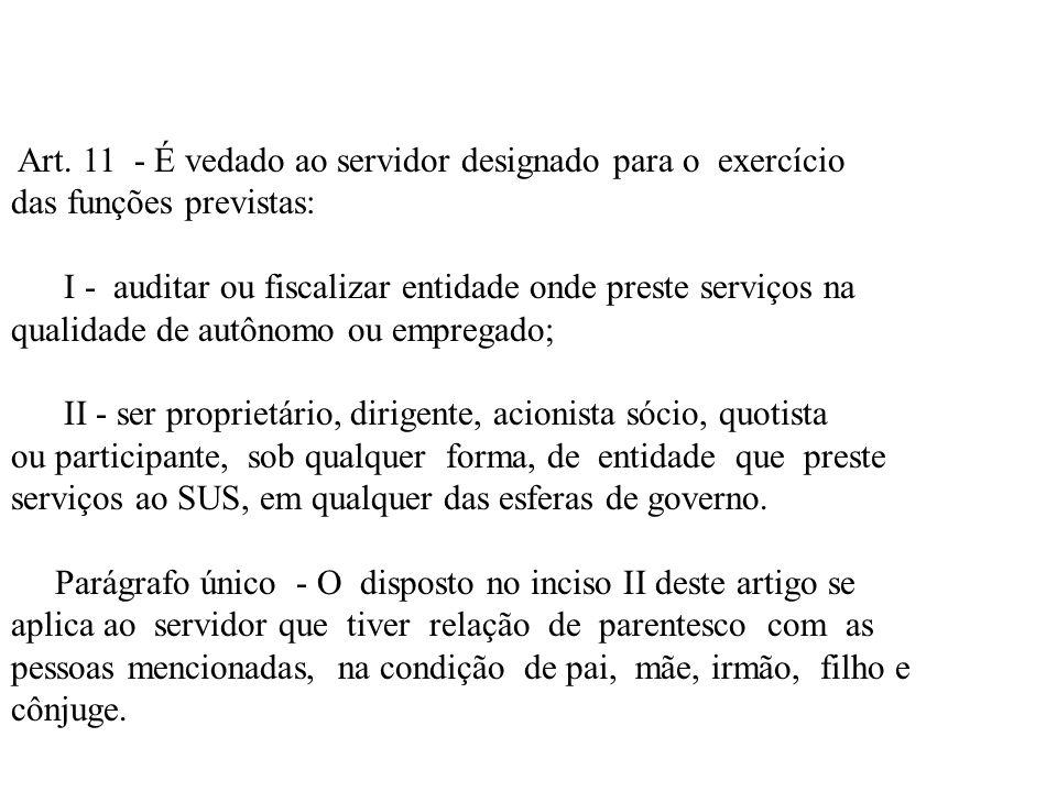 Art. 11 - É vedado ao servidor designado para o exercício das funções previstas: I - auditar ou fiscalizar entidade onde preste serviços na qualidade