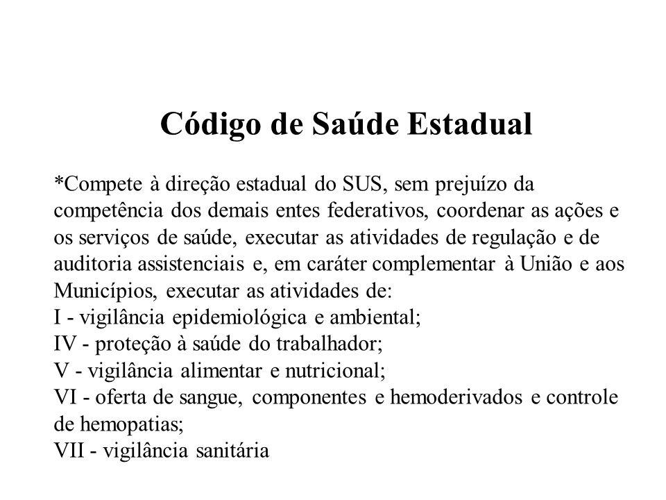 Código de Saúde Estadual *Compete à direção estadual do SUS, sem prejuízo da competência dos demais entes federativos, coordenar as ações e os serviço