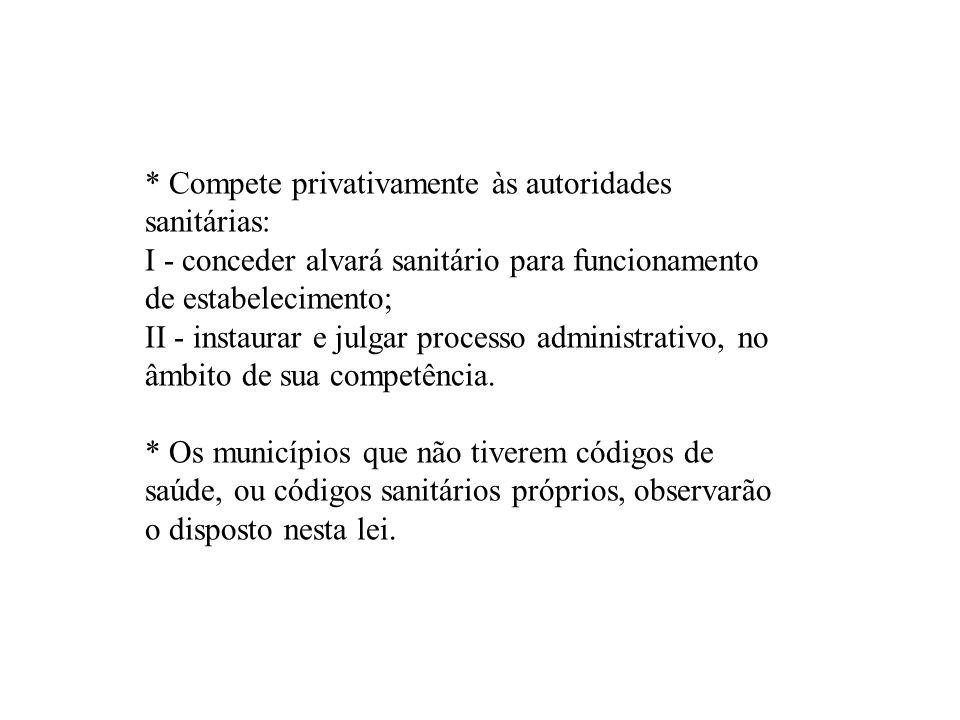 * Compete privativamente às autoridades sanitárias: I - conceder alvará sanitário para funcionamento de estabelecimento; II - instaurar e julgar proce
