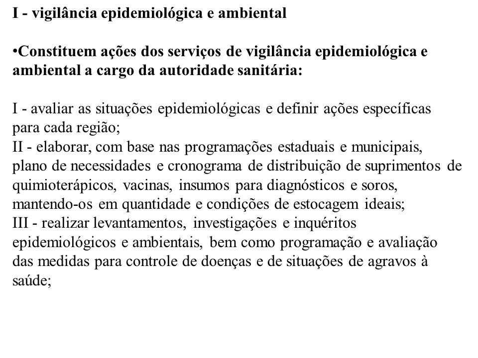 I - vigilância epidemiológica e ambiental Constituem ações dos serviços de vigilância epidemiológica e ambiental a cargo da autoridade sanitária: I -