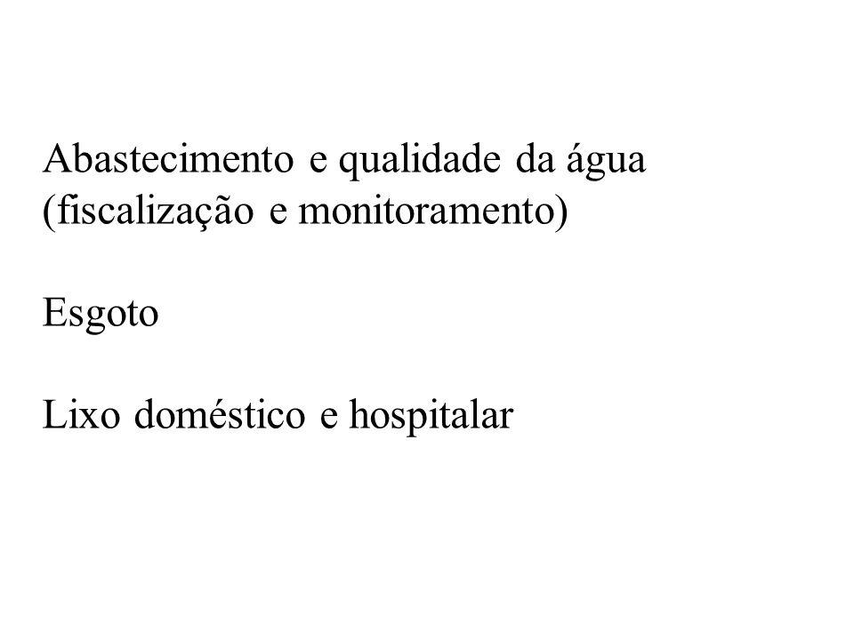 Abastecimento e qualidade da água (fiscalização e monitoramento) Esgoto Lixo doméstico e hospitalar