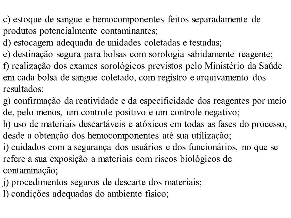 c) estoque de sangue e hemocomponentes feitos separadamente de produtos potencialmente contaminantes; d) estocagem adequada de unidades coletadas e te