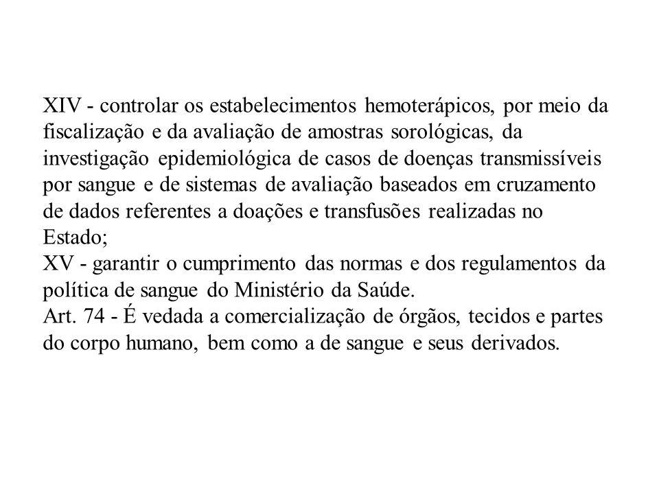 XIV - controlar os estabelecimentos hemoterápicos, por meio da fiscalização e da avaliação de amostras sorológicas, da investigação epidemiológica de