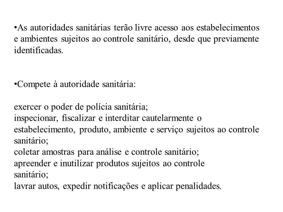 As autoridades sanitárias terão livre acesso aos estabelecimentos e ambientes sujeitos ao controle sanitário, desde que previamente identificadas. Com