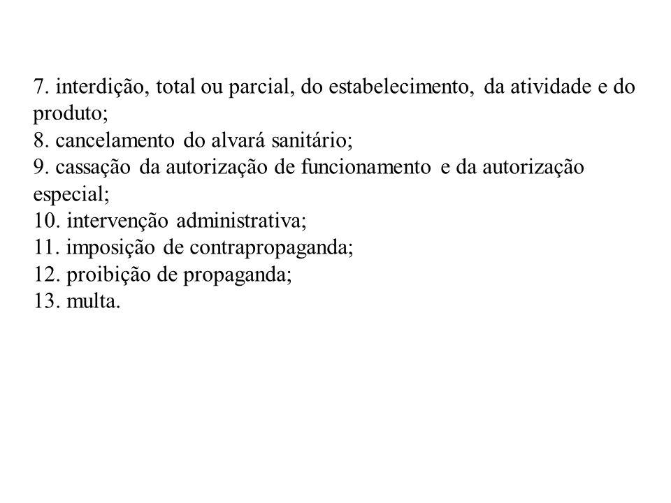 7. interdição, total ou parcial, do estabelecimento, da atividade e do produto; 8. cancelamento do alvará sanitário; 9. cassação da autorização de fun