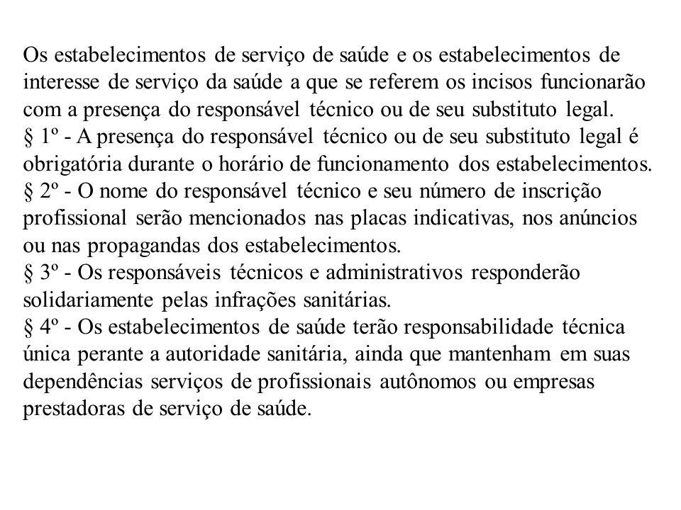 Os estabelecimentos de serviço de saúde e os estabelecimentos de interesse de serviço da saúde a que se referem os incisos funcionarão com a presença