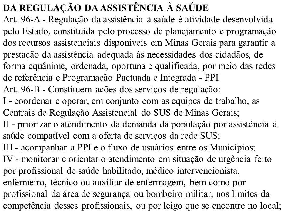 DA REGULAÇÃO DA ASSISTÊNCIA À SAÚDE Art. 96-A - Regulação da assistência à saúde é atividade desenvolvida pelo Estado, constituída pelo processo de pl