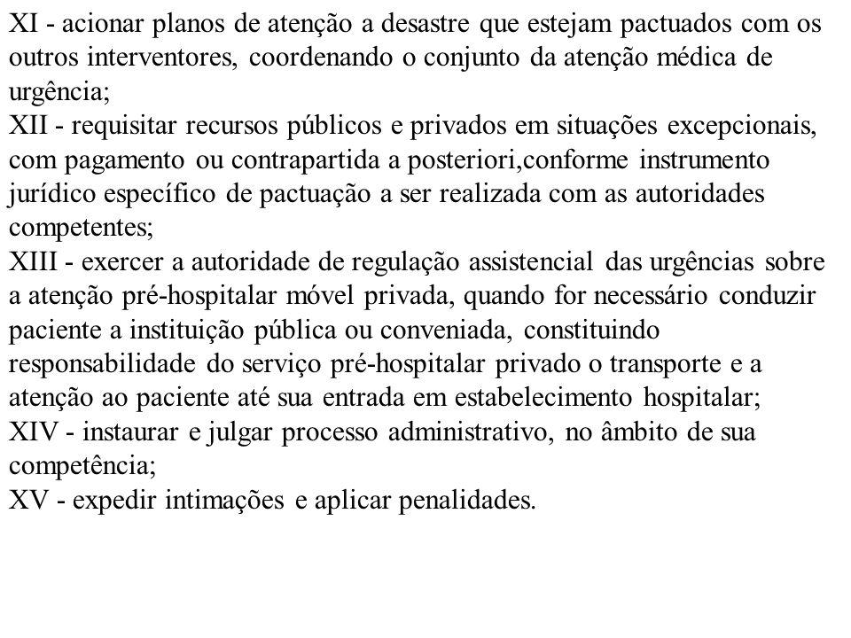 XI - acionar planos de atenção a desastre que estejam pactuados com os outros interventores, coordenando o conjunto da atenção médica de urgência; XII