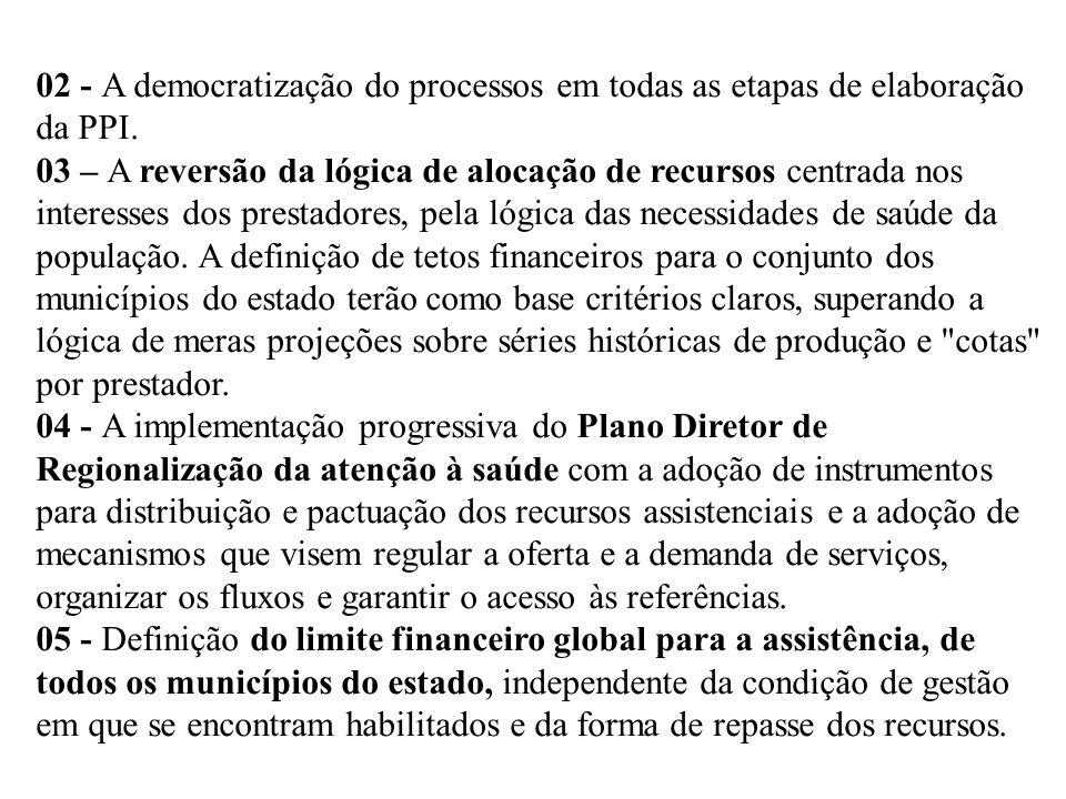 02 - A democratização do processos em todas as etapas de elaboração da PPI. 03 – A reversão da lógica de alocação de recursos centrada nos interesses