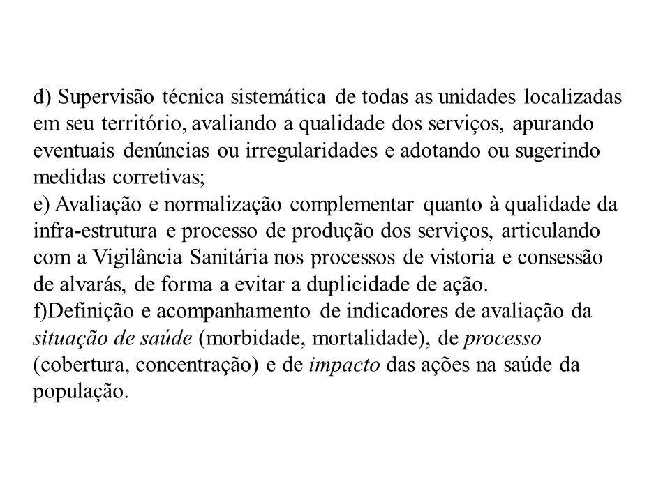 d) Supervisão técnica sistemática de todas as unidades localizadas em seu território, avaliando a qualidade dos serviços, apurando eventuais denúncias