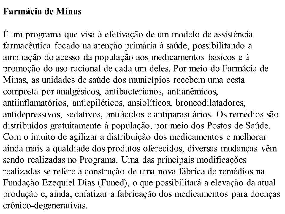 Farmácia de Minas É um programa que visa à efetivação de um modelo de assistência farmacêutica focado na atenção primária à saúde, possibilitando a am