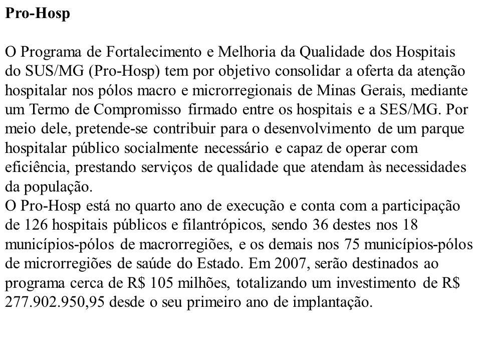 Pro-Hosp O Programa de Fortalecimento e Melhoria da Qualidade dos Hospitais do SUS/MG (Pro-Hosp) tem por objetivo consolidar a oferta da atenção hospi