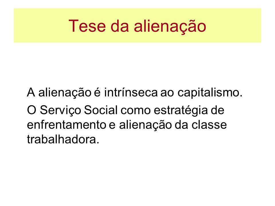 Tese da alienação A alienação é intrínseca ao capitalismo. O Serviço Social como estratégia de enfrentamento e alienação da classe trabalhadora.