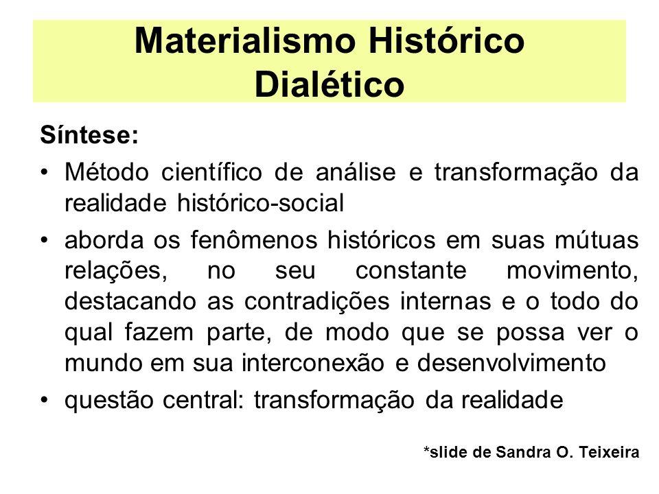 Materialismo Histórico Dialético Síntese: Método científico de análise e transformação da realidade histórico-social aborda os fenômenos históricos em