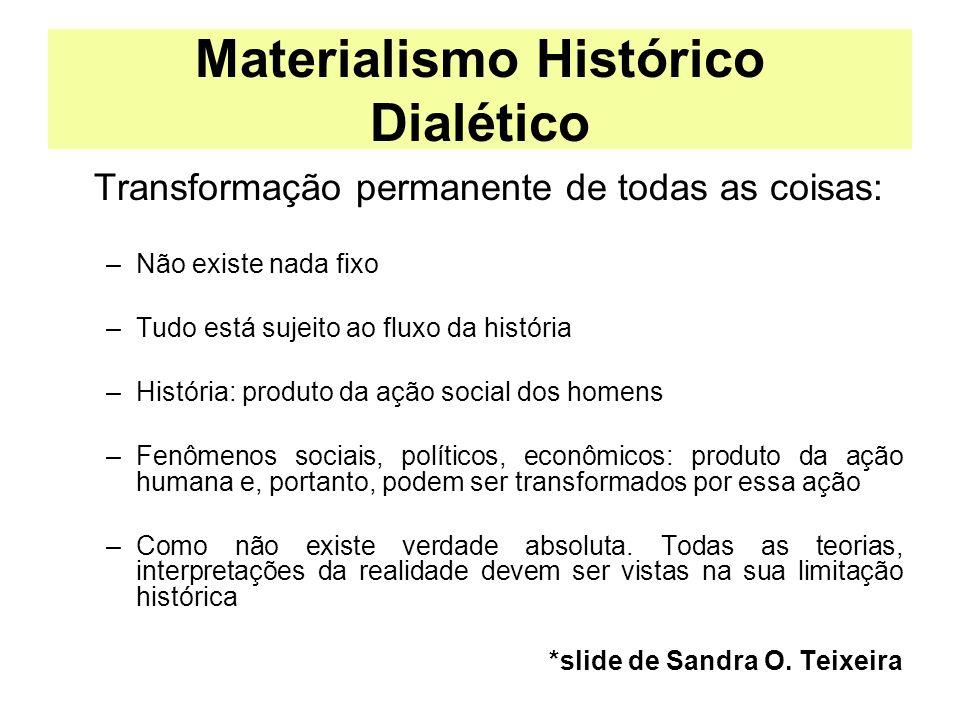 Materialismo Histórico Dialético Transformação permanente de todas as coisas: –Não existe nada fixo –Tudo está sujeito ao fluxo da história –História: