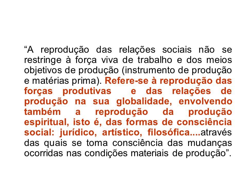 A reprodução das relações sociais não se restringe à força viva de trabalho e dos meios objetivos de produção (instrumento de produção e matérias prim