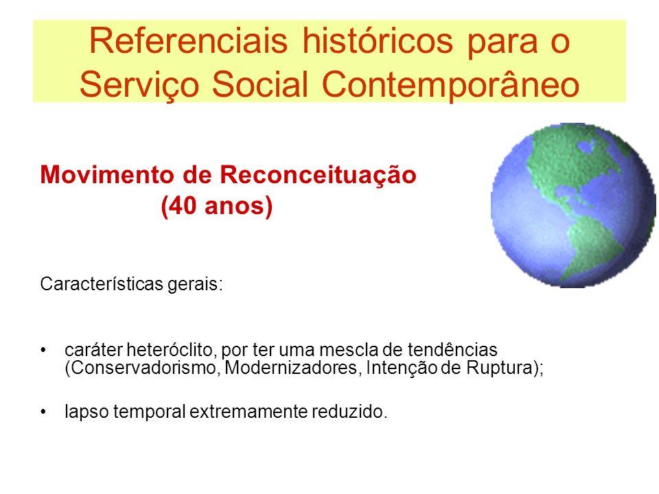 Referenciais históricos para o Serviço Social Contemporâneo Movimento de Reconceituação (40 anos) Características gerais: caráter heteróclito, por ter