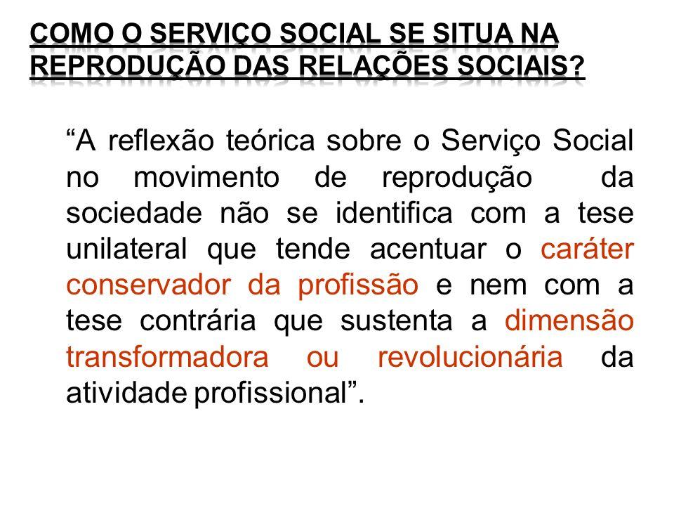 A reflexão teórica sobre o Serviço Social no movimento de reprodução da sociedade não se identifica com a tese unilateral que tende acentuar o caráter
