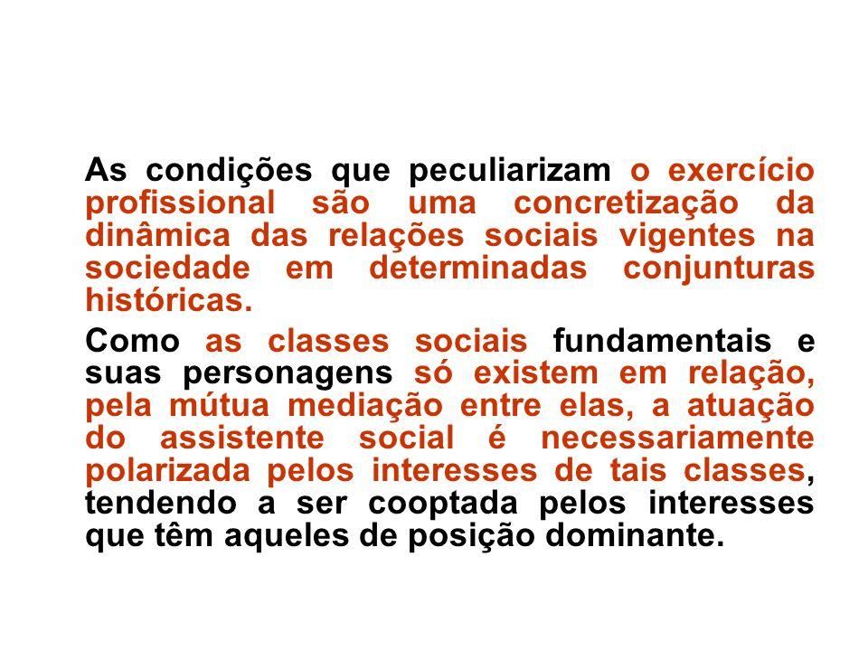 As condições que peculiarizam o exercício profissional são uma concretização da dinâmica das relações sociais vigentes na sociedade em determinadas co