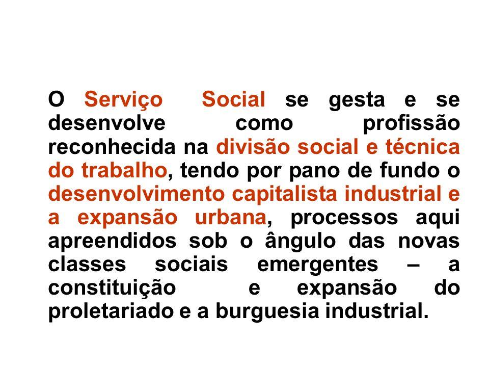 O Serviço Social se gesta e se desenvolve como profissão reconhecida na divisão social e técnica do trabalho, tendo por pano de fundo o desenvolviment