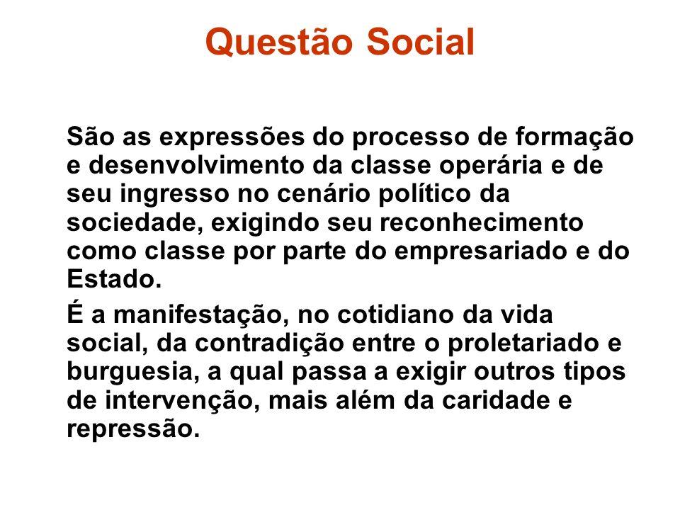 Questão Social São as expressões do processo de formação e desenvolvimento da classe operária e de seu ingresso no cenário político da sociedade, exig