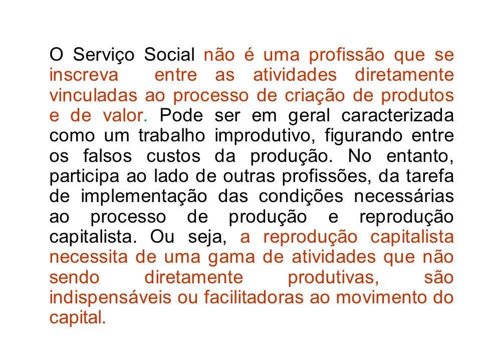 O Serviço Social não é uma profissão que se inscreva entre as atividades diretamente vinculadas ao processo de criação de produtos e de valor. Pode se