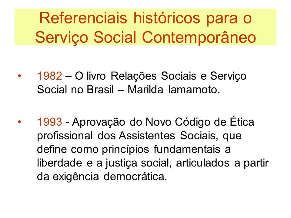 Referenciais históricos para o Serviço Social Contemporâneo 1993 – Nova Lei de Regulamentação da profissão que sofreu um profundo processo de renovação face às mudanças experimentadas pelo Serviço Social no Brasil.