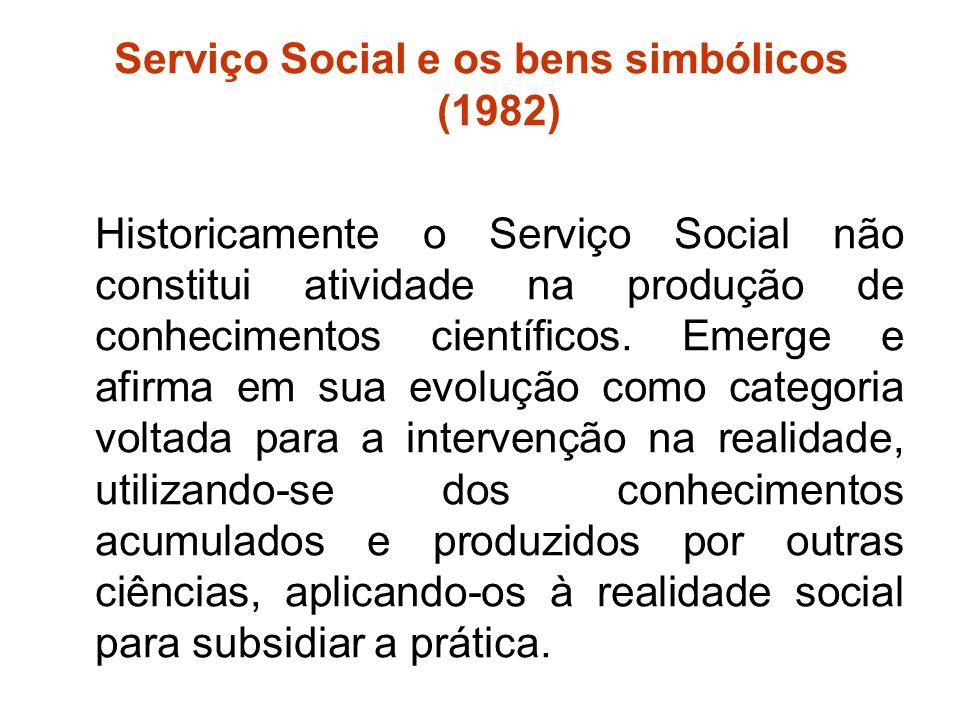 Serviço Social e os bens simbólicos (1982) Historicamente o Serviço Social não constitui atividade na produção de conhecimentos científicos. Emerge e